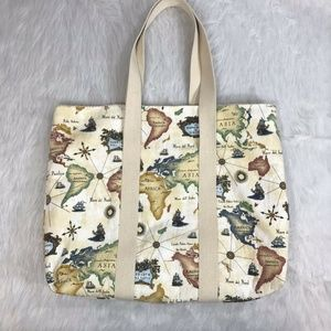 Cotton Tote Canvas World Map Casual Open Top